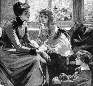 An engraving depicting a mother caring for her children