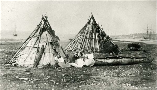 Photo of a Mi'kmaq camp by Paul Emile Miot