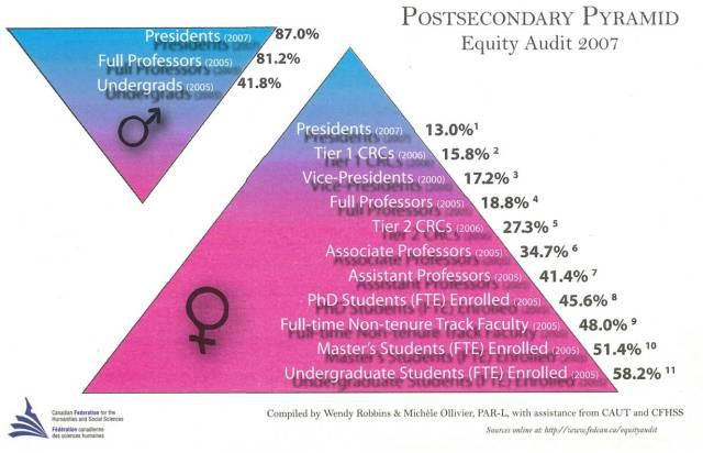 This pyramid gives statistics for 2007 of the percentages of women and men studying, teachin and managing post-secondary institutions. There is a steep pyramid by gender in managerial roles.