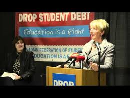 Premier Dunderdale speaking at the 2012 CFS National day of action at Memorial University