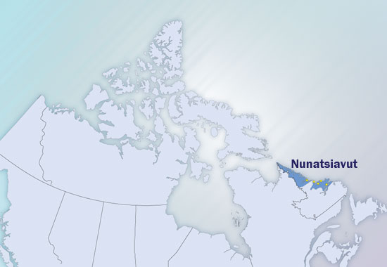 Map of Canada, showing when Nunatsiavut is located.