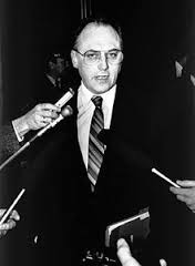 Premier Brain Peckford being barriaged by media 1980s