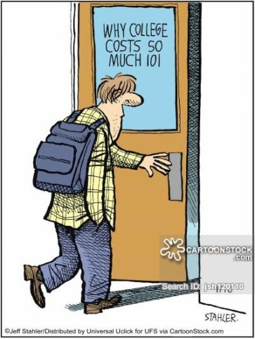 "A cartoon featuring a student walking into a classroom. The class is called ""Why College Costs So Much 101."""