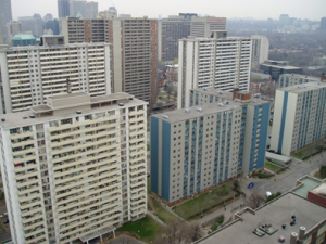 This picture shows of the high rise complexes of St. James Town.