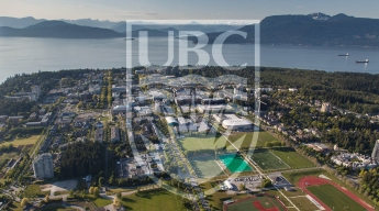 Image of the campus of the University of British Columbia along with the logo of the university