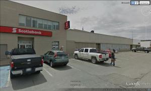 The Scotiabank building and the former Ayre's store, now vacant.