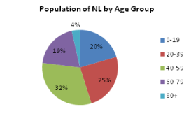 Pie chart of 20 year age groups in NL